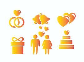 Icônes de mariage vecteur