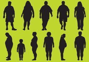 Silhouettes de graisse vecteur