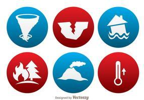 Icônes du cercle de désastre naturel vecteur