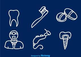 Icônes de ligne blanche dentaire vecteur