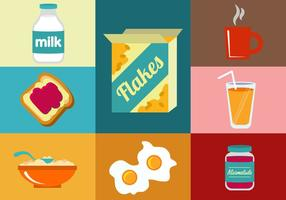 Illustrations vectorielles des éléments de petit-déjeuner vecteur