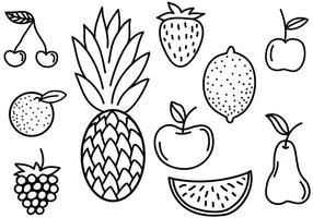 Des vecteurs de doodles de fruits gratuits vecteur
