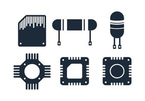 Icône de puce électronique vecteur