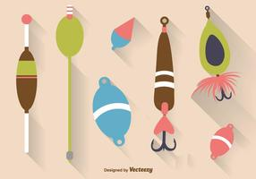 Icônes plates de crochet de poisson vecteur
