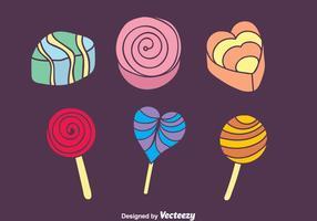 Icônes colorées de bonbons et de gâteaux vecteur