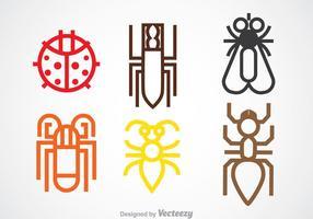 Icônes de ligne d'insectes colorés vecteur