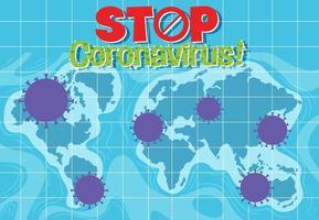 arrêter la carte du monde des coronavirus vecteur