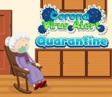 affiche pour covid-19 avec une vieille dame à la maison
