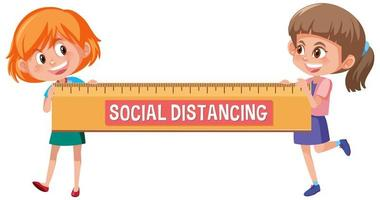 distance sociale avec deux filles heureuse tenant une grande règle vecteur