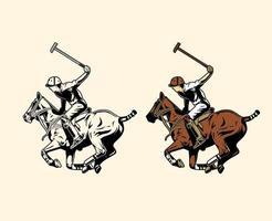 joueur de polo balançant maillet vecteur
