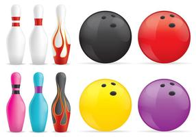 Pins et boules de bowling vecteur