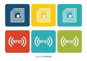 Ensemble d'icônes RFID coloré vecteur