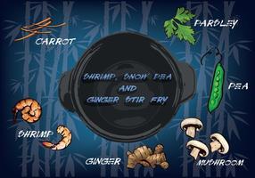 Illustration de fond libre de carottes, de persil, de pois, de champignons, de gingembre et de crevettes vecteur
