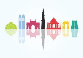 Monuments de la ville indienne vecteur