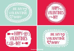 Cute Hand Drawn Style Saint Valentin étiquettes