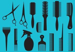 Silhouettes d'outils de coiffeur vecteur