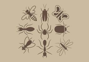 Vecteur silhouettes d'insectes