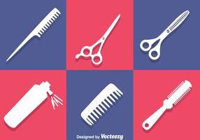 Outils de coiffeur icônes blanches vecteur