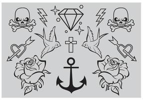 Anciens vecteurs de tatouage scolaire vecteur