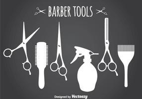 Silhouette des outils de coiffeur vecteur
