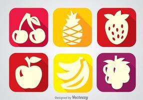 Vecteurs d'icônes à longue ombre de fruits vecteur