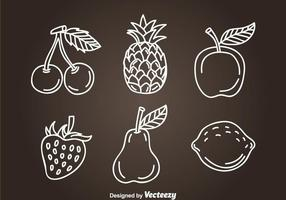 Fruits vecteurs d'icônes dessinés à la main vecteur