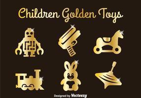 Jeu de jouets dorés pour enfants vecteur