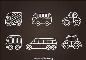 Vecteurs d'icônes dessinés à la main du véhicule