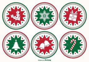 Ensemble de timbres de Noël en désaltérants vecteur