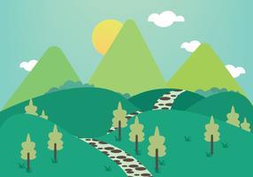Vecteur libre d'illustration des montagnes du chemin de pierre