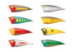 Vecteurs de leurres de pêche à l'eau salée