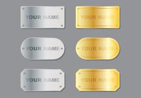 Plaque de nom métallique vecteur