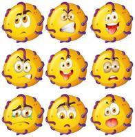 créature jaune avec des expressions faciales