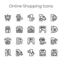 e-commerce avec collection d'icônes de concept de magasinage et de livraison en ligne