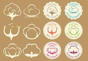 Logos de coton et vecteurs de badges vecteur