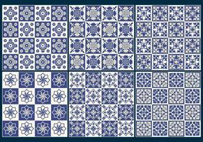 Vecteurs de motifs de carreaux bleus vecteur