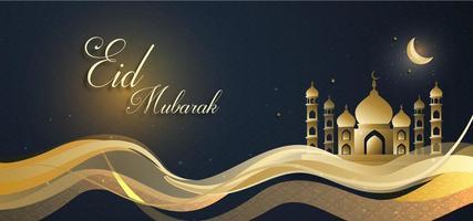 eid mubarak royal luxe bannière vague design fond vecteur