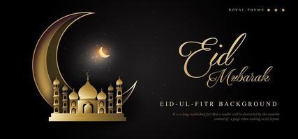 conception sombre eid mubarak royal luxe bannière fond vecteur