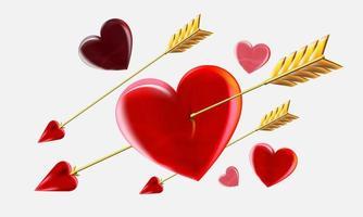 coeurs avec des flèches de Cupidon.