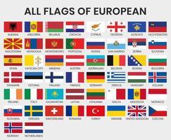 drapeaux de tous les pays européens