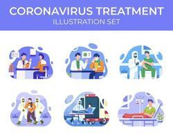 ensemble de scènes de traitement de coronavirus