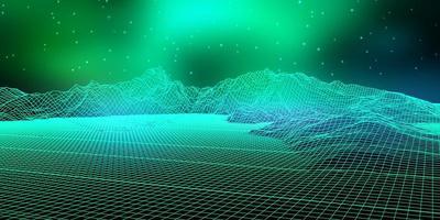paysage numérique abstrait avec filaire