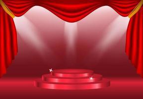 podium avec rideaux et spots vecteur
