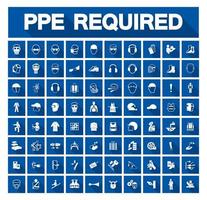 jeu d'icônes d'équipement de protection individuelle requis