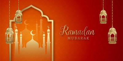 bannière de médias sociaux islamique ramadan kareem rouge