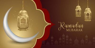 bannière de médias sociaux ramadan kareem islamique marron et rouge