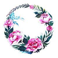 design floral circulaire de mariage décoratif vecteur