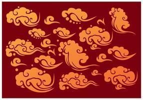 Vecteurs d'éléments de nuages chinois