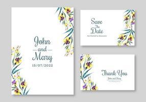 ensemble d'invitation de mariage de belles fleurs jaunes