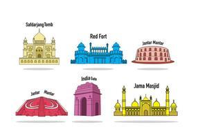 Vecteur des monuments d'Inde